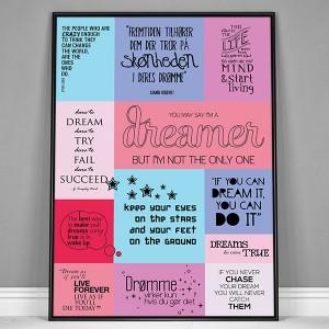 Plakat med citatcollage. Drømme. Colors