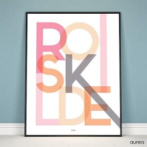 Plakat med bynavn Roskilde