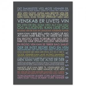 Plakat: Venskab i multicolor, mørkegrå baggrund