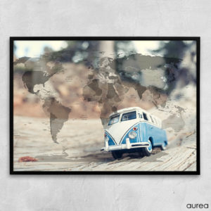 Plakat med verden og VW